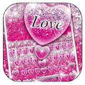 Pink Glitter Love Heart Keyboard Theme