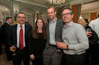 Photo: Paolo Cravedi of Alessi, Randi Mohr of NY NOW, Christian Falkenberg of NY NOW and Tom Gottlieb of Two's Company, GLM/41 Madison party, #Ambiente14