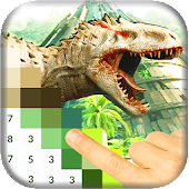 Color by Number: Jurassic Dinosaur Pixel Art icon