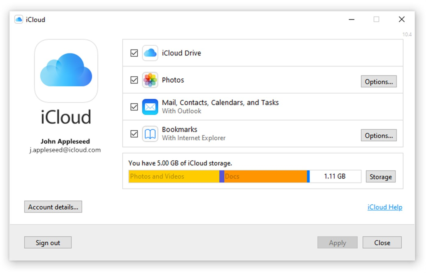 iCloud Account Settings Showing Outlook Contacts in sync