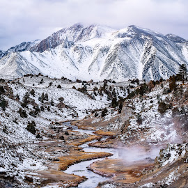 Hot Creek by Evver Gonzalez - Landscapes Mountains & Hills ( inyo national forest, landscape photography, camping, mountains, sunrise, american west, mammoth lakes, eastern sierra, mountain range, trees, alpine, sierra nevada, california, telephoto landscape, landscape )