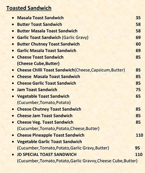 J D Snacks menu 1