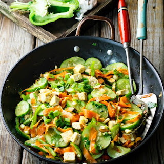 Spicy Cucumber Salad with Pan Fried Tofu