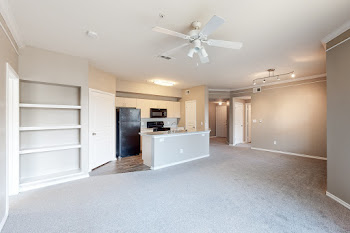 Spacious living area with built-in bookshelf and plush carpet, looking into the kitchen