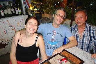 Photo: Starting on Left, Cassie, Servio, Sam (owner of restaurant)