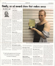 """Photo: """"Finally, An Ad Award Show That Makes Sense."""" My column called The Bitter End. Printed in Strategy Magazine on March 22, 2004."""