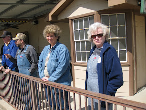 Photo: Train watching.  Richard Osborn, Paul King and his friend, and Letha Grace McCoy.    HALS 2009-0228