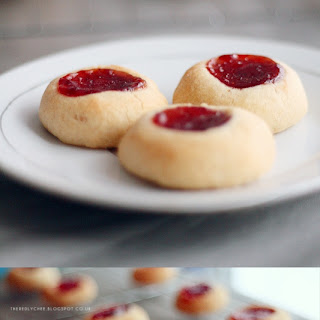 Strawberry and Almond Thumbprint Cookies