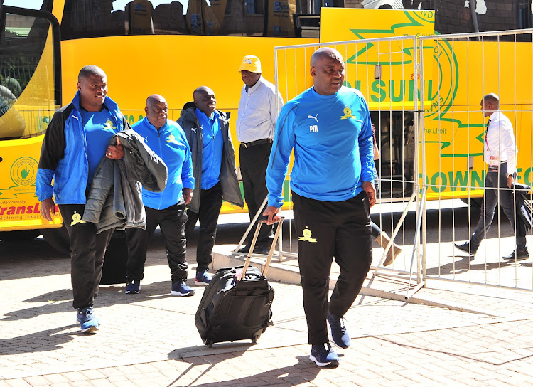Mamelodi Sundowns coach Pitso Mosimane arrives at the stadium.