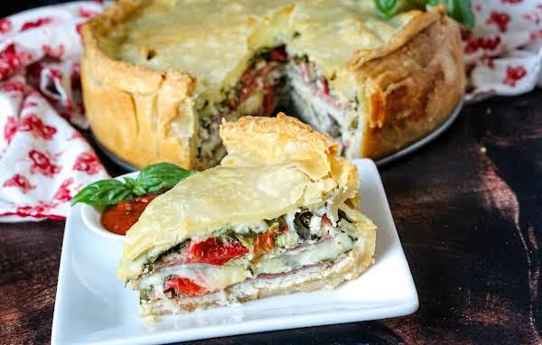 Italian Torta Sandwich On A Plate.