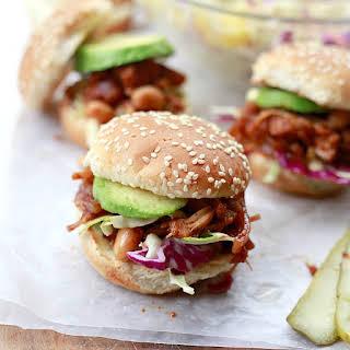 Vegan BBQ Pulled Jackfruit and Bean Sandwiches.