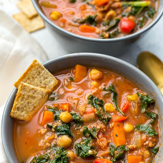 Slow Cooker Tuscan Sausage and Kale Soup.