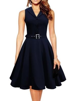 Blue vintage skater dress