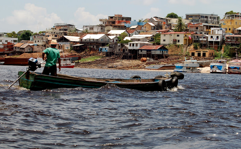 A Manaus fisherman near the meeting of the rivers.
