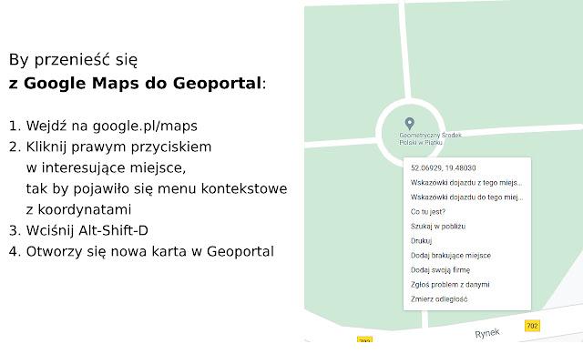 Podróżuj między Geoportal i Google Maps
