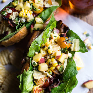 BLT and Potato Chip Lobster Rolls with Peach Salsa..