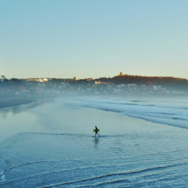 alone in the mist  by Eloise Rawling - Landscapes Waterscapes ( scarborough, solitary, the grand hotel, seascape, misty,  )