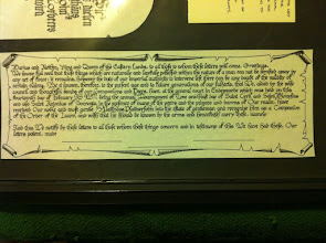 Photo: Calligraphy for my first Peerage scroll, in the style of a woodcut by Albrect Durer. Illustrations by Mistress Carolyne de la Pointe.