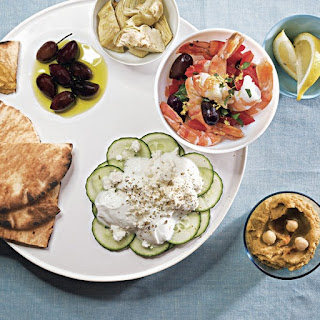 Meze Platter with Hummus, Shrimp Salad, and Cucumber Salad