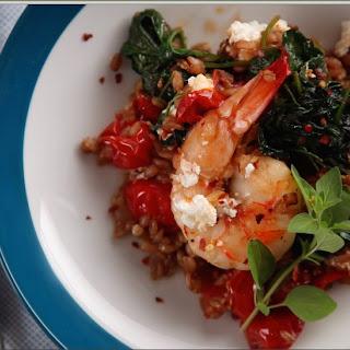 Greek Shrimp, Farro and Greens with Feta Recipe