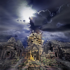 Temple ruins by Ben Heys - Digital Art Places ( old, stone, architecture, travel, haunted, artwork, anchor, asian, religion, ancient, sky, nature, cambodian, dark, ankor, cambodia, structure, art, carving, atmosphere, tourism, smoke, temple, nightmare, antique, natural, religious, outside, moon, brick, vivid, buddhist, khymer, fantasy, adventure, buddhism, rubble, nighttime, asia, ruins, misty, building, spooky, foggy, blue, fog, outdoor, castle, night, mist )
