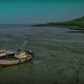 The wait by Akashneel Banerjee - Instagram & Mobile Android ( shore, nature, sea, landscape, boat )