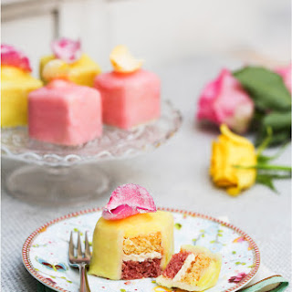Rose And Lemon Fondant Fancies