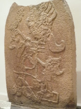 Photo: Mayan carved stella - now, which god or ruler is this, hmmm? (photo courtesy of Daniel Seinfeld).