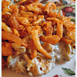 Green Bean Casserole with Mushrooms and Cheesy French Fried Onions