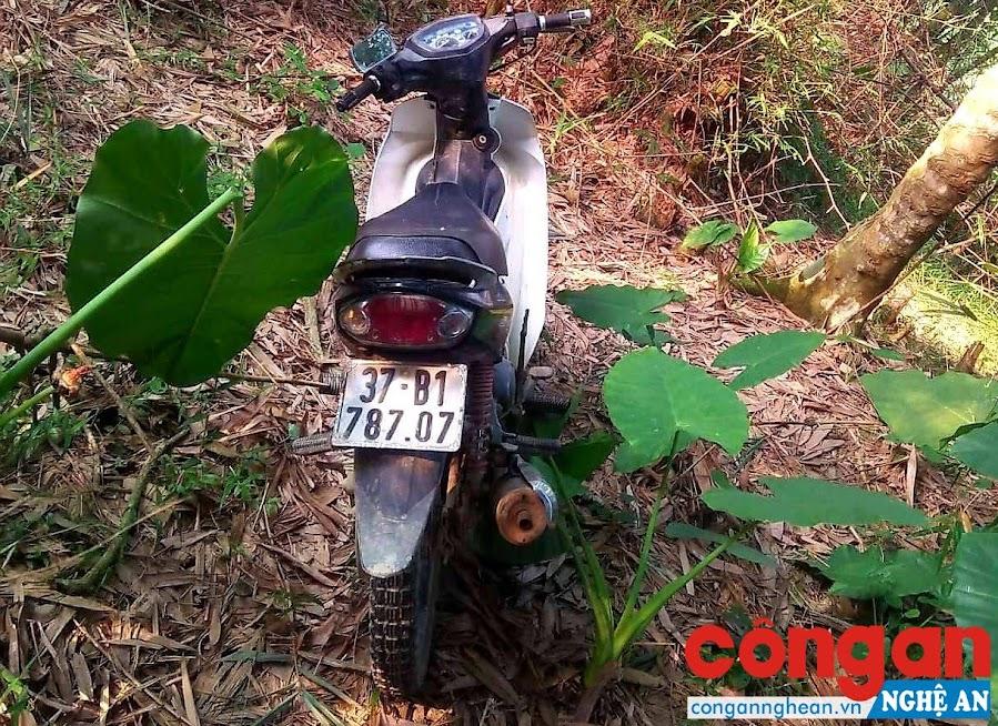 Chiếc xe máy của anh Thảo bị mất được tìm thấy trong bụi tre