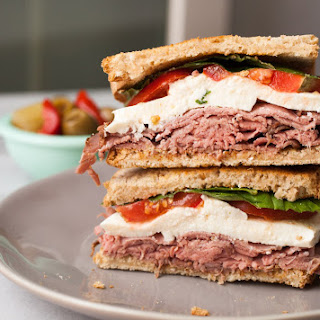 Roast Beef Caprese Sandwich.