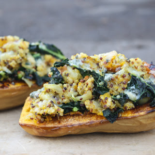 Twice Baked Butternut Squash With Kale And Quinoa