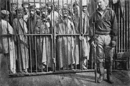 Group of prisoners in Sakhalin, remote prison island, c. 1903