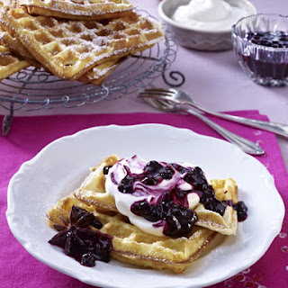 Gluten-Free Waffles with Blueberry Compote