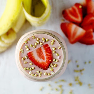 Simple Strawberry Banana Protein Smoothie.