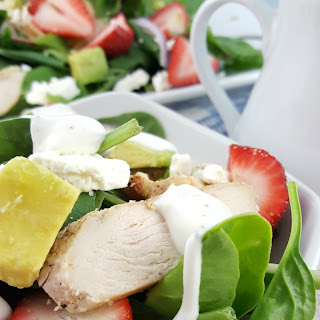 Strawberry Avocado Salad + Greek Yogurt Dressing.