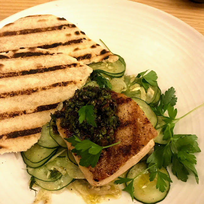 Opah (moonfish) with cucumber, fennel, suman, flatbread, and black olive tapenade, Mahina & Sun's (Honolulu)