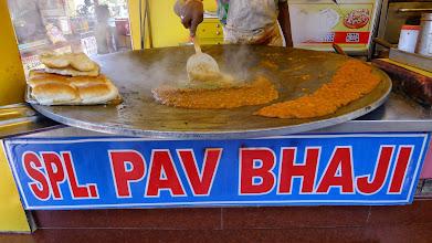 Photo: Pav Bhaji at Juhu beach.  Soooo good.  But soooo bad for my acid reflux; tomato based, onions, etc.