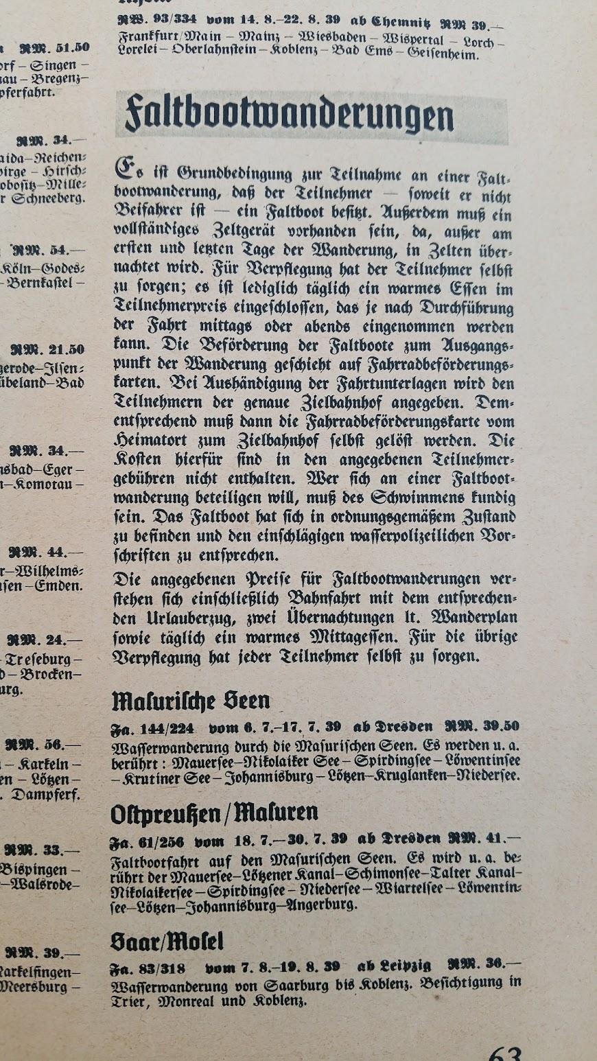 """Die Deutsche Arbeitsfront - Urlaubsfahrten 1939 - NS-Gemeinschaft """"Kraft durch Freude"""" Gau Sachsen - Katalog - Faltbootwanderungen"""