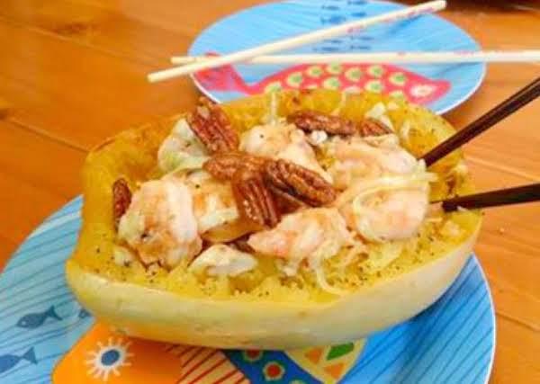 Saucy Shrimp Pad Thai In Spaghetti Squash Boat