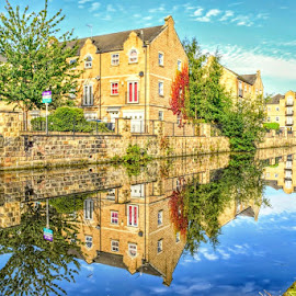 reflections in the canal by Betty Taylor - City,  Street & Park  Vistas ( waterscape, reflections, hdr, waterway, homes )