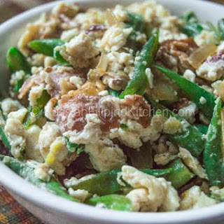 Sauteed Green Beans With Bacon and Egg Whites.