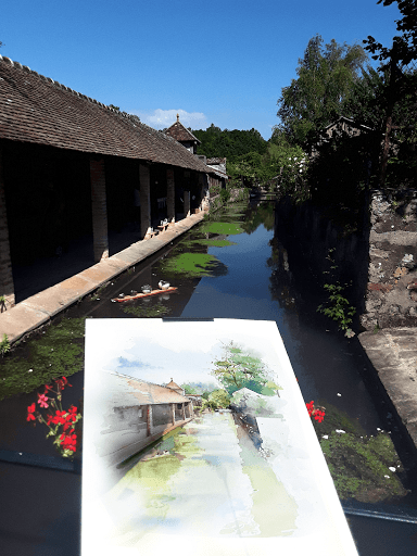 fontainebleau_gatinais_nemours_moret sur loing stage aquarelle en plein air_ démostration aquarelle JEANNE PAPA_ expo au fil des lavoirs LAVOIR DE FLAGY 2019_033
