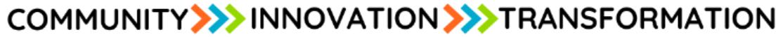 Logo that says Community, Innovation, Transformation