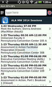 ALA Mid Winter 2014 App, Sessions