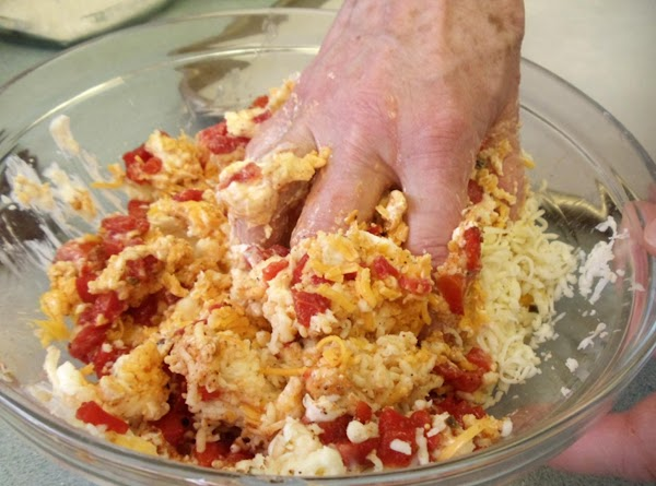 Mix all the above in a large bowl(except the flour,buttermilk and breadcrumbs) till it...
