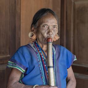 Smoking kills by George Marcu - People Portraits of Women ( tattooed women, myanmar, old lady, smoking, traditional, pipe )