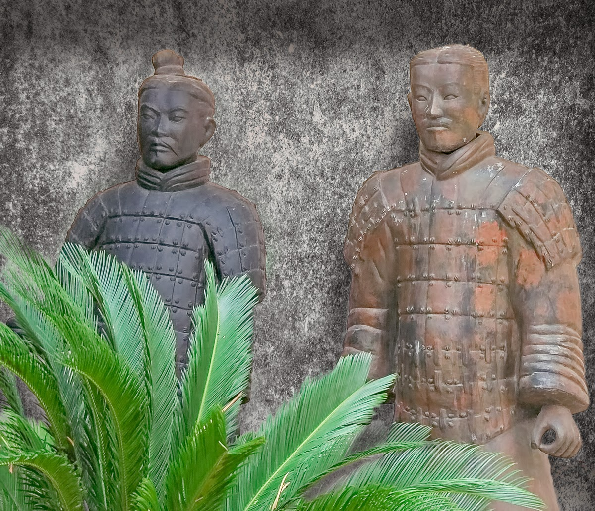 Photo: The Watchers They're so still, they look like statues!  So, at the factory where they make replicas of the Terracotta Warriors, there were these two standing on a porch, seemingly watching the tourists come and go. They really weren't very well situated, so I gave them this almost-square crop and a textured background (originally an off-white wall). The shadows of the Warriors and on the top and right edges of the frame are the result of adding an inner shadow to the texture layer with the Warriors and palm branches masked. The result gives some depth to the scene, and keeping the soldiers from looking like cut-outs. I like that!  #Travel   #China   #Terracottawarriors   #Xian   #Photoshop   #texturblend