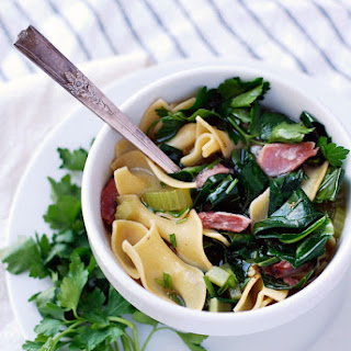 Ham Hock & Collard Soup With Egg Noodles