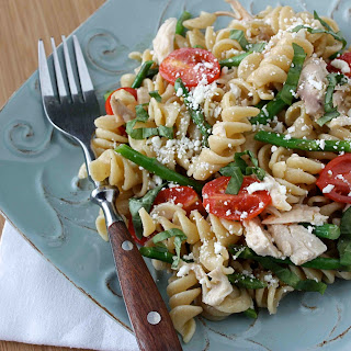 Mint-Basil Chicken Pasta Salad Recipe with Tomatoes, Asparagus & Feta Cheese